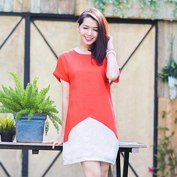 Đầm Linen Phối Màu Trẻ Trung