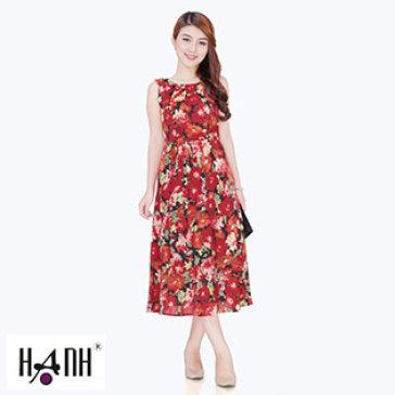 Đầm Hoa Chít Ly Cổ Cột Eo 5737, Thời Trang Hạnh