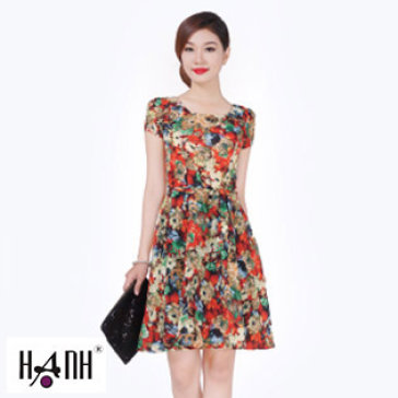 Đầm Hoa Chít Ly Tay Cột Eo 5456 Thời Trang Hạnh