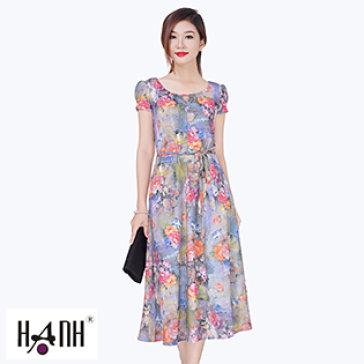 Đầm Hoa Cổ Xẻ Giọt Nước 5386 Thời Trang Hạnh