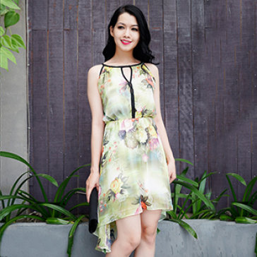 Đầm Midi Yếm Viền Hoa
