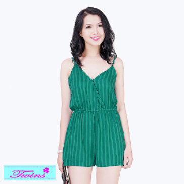 Jumpsuit Xanh Sọc Dọc Twins