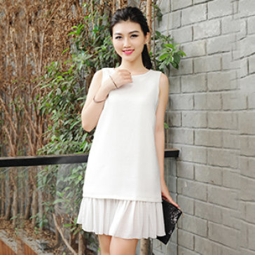 Đầm Suông Dập Ly Phối Nơ Lưng Hot Trend