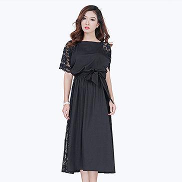 Đầm Mina Ren Hoa Kèm Thắt Lưng