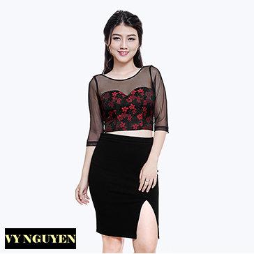 Set Chân Váy Sẽ Lai + Áo Hoa Phối Lưới - Vy Nguyễn