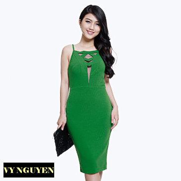 Đầm Body Dây Cúp Ngực Phối Lưới - Vy Nguyễn