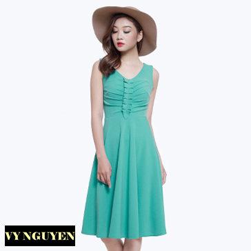 Đầm Xòe Cổ Tim Nhấn Ngực - Vy Nguyễn