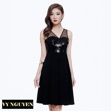 Đầm Xếp Ly Xòe Phối Kim Sa-Vy Nguyễn