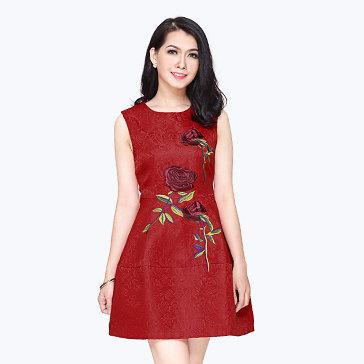 Đầm Gấm Hoa Hồng Korea