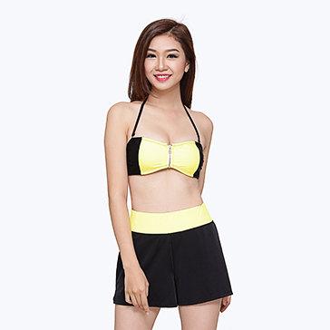 Bộ Bơi Quần + Áo Bikini Phối Màu