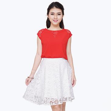 Set Áo Phối Sen + Chân Váy Ren Cao Cấp