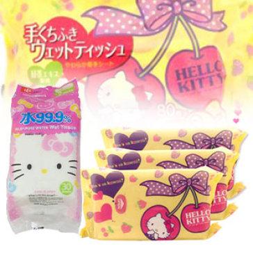 Giấy Ướt LEC Hello Kitty E-045 Dùng Cho Tay Và Miệng (80 Tờ X 3 Gói)...