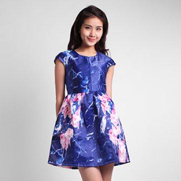 Đầm Xòe Tay Con Chân Váy Hoa