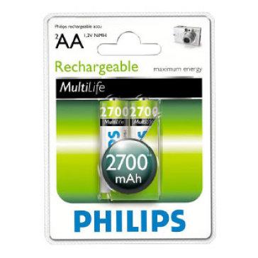 Vỉ 2 Viên Pin Sạc Philips Rechargeable NiMH 2AA 2700mAh