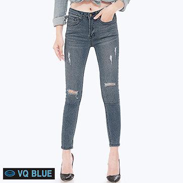 Quần Jean Wash Rách Phối Chỉ Màu VQ Blue 7809-1