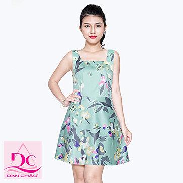 Đầm Kaki Hoa Lưng Nơ Phong Cách 1201