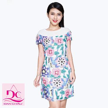 Đầm Voan Gân Hoa Tiết Hoa-1216