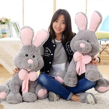 Thỏ Bunny Nhồi Bông Lông Siêu Mềm Size Vừa