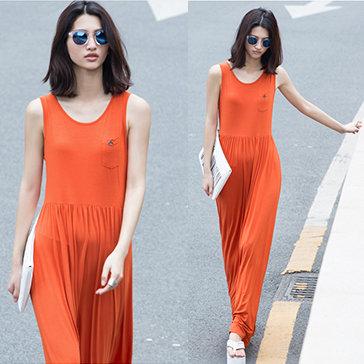 Đầm Maxi Thun Túi Con Basic