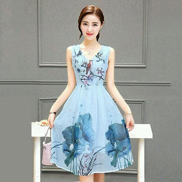 Đầm Thu Dịu Dàng In Hoa