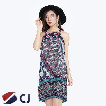 Đầm Cổ Yếm Hoa Văn Thổ Cẩm CJ