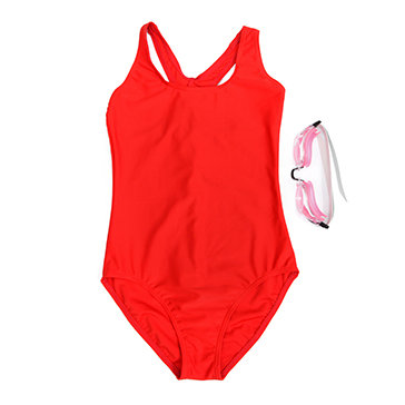 Swimsuit Trơn Tặng Kèm Kính Bơi Cho Bé Gái