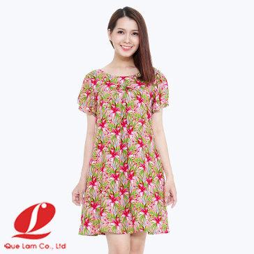 Đầm Ngủ Rayon Tay Xòe Nơ Ngực 616004 DNR