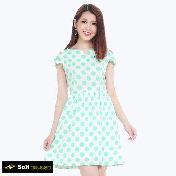 Đầm Xòe Cổ V Tay Xẻ 22902 TH Sơn Nguyễn