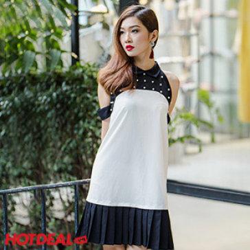 Đầm Yếm Đính Hạt Chân Váy Dập Ly