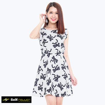 Đầm Xòe Nhấn Eo Họa Tiết 23602 TH Sơn Nguyễn