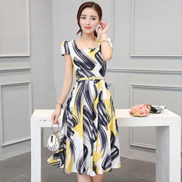 Đầm Họa Tiết Kèm Nịt Mei Mei