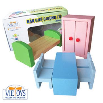 Đồ Chơi Gỗ Vietoys - Mô Hình Bàn - Ghế - Giường - Tủ Loại Nhỏ VT3P-0153