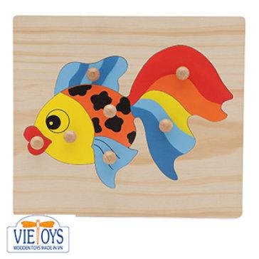 Đồ Chơi Gỗ Vietoys - Tranh Ghép Có Chốt Hình Cá Vàng VT3P-0129