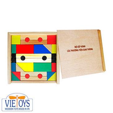 Đồ Chơi Gỗ Vietoys - Bộ Xếp Hình Các Phương Tiện Giao Thông (32 Chi Tiết Màu) VT3P-0117
