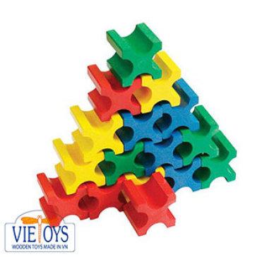 Đồ Chơi Gỗ Vietoys - Bộ Lắp Ghép Khối X VT3P-0018