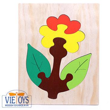 Đồ Chơi Gỗ Vietoys - Tranh Ghép Hình Hoa Cúc Đỏ (20X25) VT3P-0126-12