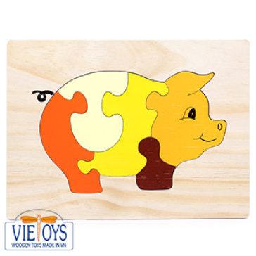 Đồ Chơi Gỗ Vietoys - Tranh Ghép Hình Con Heo (20X25) VT3P-0126-26
