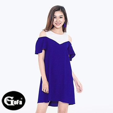 Đầm Suông Cut Out Phối Màu