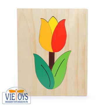 Đồ Chơi Gỗ Vietoys - Tranh Ghép Hình Hoa Tulip (20 x 25)