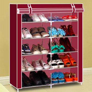 Tủ Vải Đựng Giày Dép Khung Thép 5 Tầng 2 Buồng Loại Lớn Chống Thấm - Mẫu 5