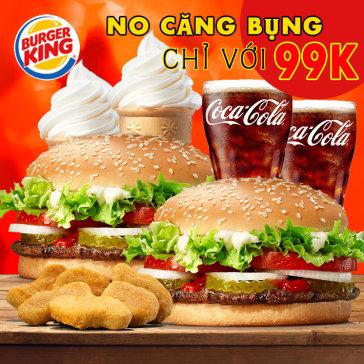 Burger King 13 Chi Nhánh - Combo No Căng Bụng Cho 2 Người