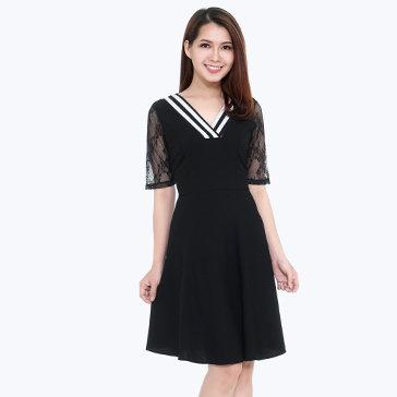 Đầm Cổ V Phối Tay Ren