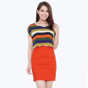 Set Áo Sọc Mix Color Và Chân Váy
