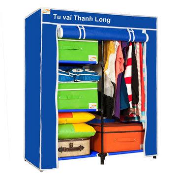 Tủ Vải Quần Áo Khung Sắt (90x46x108 cm) - T.H Thanh Long (Hàng VNCLC)