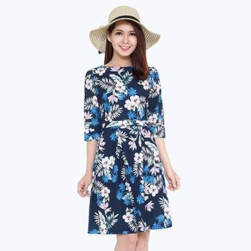 Đầm Hoa Tay Lửng Kèm Dây Thắt Lưng
