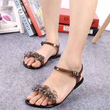 Giày Sandal Nhựa Trong Suốt Đính Hoa