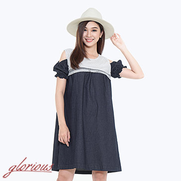 Đầm Denim Phối Ren Oversize