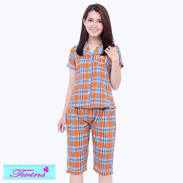 Đồ Bộ Lửng Pijama Sọc Caro Twins
