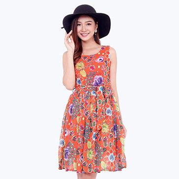 Đầm Voan Xòe Hoa Đá