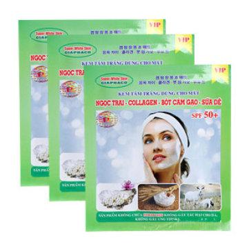 Combo 3 Gói Tắm Trắng Face Ngọc Trai, Collagen, Cám Gạo, Sữa 100g